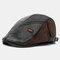 Collrown Men Faux Leather Retro Casual Stripe Pattern Contrast Color Leather Forward Hat Beret Hat - Black