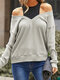 Women Solid Color Patchwork Off Shoulder Knitted Sweater - Gray