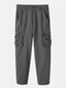 Mens Solid Color Multi-Pocket Zipper Fly Casual Loose Fit Overalls - Gray