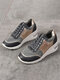 Large Size Women Round Toe Hollow Breathable Lace Up Wedges Sneakers - Grey