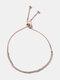 Vintage Adjustable Inlaid Rhinestone Women Bracelet Telescopic Claw Chain Jewelry Gift - Rose Gold