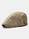 Men Cotton Stitching Stripes Cap Outdoor Leisure Wild Forward Hat Flat Cap - Beige