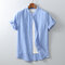 Mens Cotton Solid Breathable Short Sleeve Casual Shirt - Sky Blue
