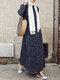 Bohenmia Print A-line Long Sleeve Casual Plus Size Dress - Navy