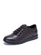 Men Comfy Microfiber Leather Lace-up Hand Stitching Casual Business Shoes - Brown