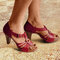 Women Hollow Comfy Wearable Peep Toe Fashion T-Strap Pumps - Red