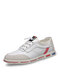 Men Lace-up Round Toe Hard Wearing Soft Sole Business Casual Shoes - White