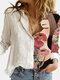 Blusa de retazos con cuello vuelto y manga larga con estampado de flores para niña para Mujer - Blanco