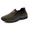 Men Fabric Slip Resistant Outdoor Casual Slip On Hiking Sneakers - Army Green