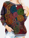 Vintage Floral Ethnic Printed Long Sleeve O-neck Pullover Sweatshirt For Women - Gray
