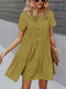 Women Solid Color Button Short Sleeve Pleated O-neck Casual Dress - Yellow