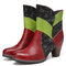 SOCOFY Genuine Leather Colorblock Splicing Floral Embossed Round Toe Short Boots - Red