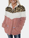 Plush Patched Leopard Printed Fluffy Fleece Thick Coat For Women - Pink
