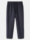 Mens 100% Cotton Striped Breathable Casual Everyday Pants - Navy Blue