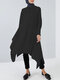 Women Ethnic Solid Color Button Long Sleeve Casual Blouse - Black
