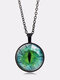 Vintage Alloy Glass Printed Women Necklaces Green Cat Eye Pendant Sweater Chain - Black