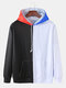 Mens Color Block Patchwork Loose Pouch Pocket Drawstring Hoodies - White