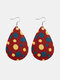 Easter Cute Colorful Bunny Print Leather Drop-shaped Earrings - 12