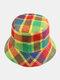 Women & Men Plaid Pattern Retro Port Style Windproof Soft All-match Travel Bucket Hat - #04