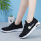 Women Letter Pattern Fabric Breathable Wearable Sports Casual Sneakers - Black 1