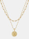 Luxury Layering Paperclip Chain Women Necklace 26 Initials Coin Pendant 14K Gold Plated Necklace Clavicle Chain - X
