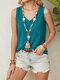 Solid Color V-neck Sleeveless Casual Tank Top For Women - Blue