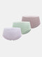 Women Cotton Solid 3Pcs High Waist Seamless Breathable Thin Panties - #01