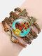 Vintage Painting Crystal Bracelet Hand-Woven Butterfly Infinity Symbol Men Women Multi-Layer Leather Bracelet - #10