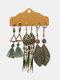 3 Pcs Vintage Irregular Women Earrings Set Drop-Shape Hollow Flower Hand-Woven Tassel Earrings - #05