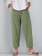 Casual Solid Color Elastic Waist Plus Size Pants - Green