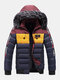 Mens Winter Thicken Tape Padded Fur Hooded Puffer Jacket Warm Down Coat - Blue