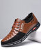 Men Stitching Leather Splicing Soft Sole Business Casual Shoes - Brown
