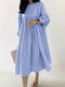 Plaid Print Pleated Puff Sleeve Casual Dress for Women - Blue