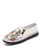 Men Slip-on Hard Weaing Printing Retro Pattern Casual Old Peking Shoes - White
