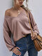 Solid Color Knitted Long Sleeve Casual Sweater for Women - Dusty pink