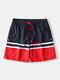 Colorblock Cargo Pocket Swim Trunks Adjustable Waistband Mid Length Board Shorts for Men - Blue