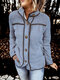 Patchwork Plush Long Sleeve Solid Color Casual Jacket For Women - Blue
