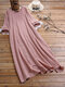 Casual Solid Color Asymmetrical Button O-neck Long Sleeve Midi Dress - Pink