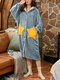 Women Coral Fleece Double Star Pockets Thick Warm Loose Button Up Sleepwear Hooded Robes - Blue