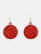 Christmas Red Flower Women Earrings Hollow Butterfly Tassel Pendant Earrings Jewelry Gift - #01