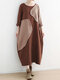 Ripped Selvedge Patchwork Long Sleeve Vintage Plus Size Dress - Coffee