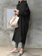 Solid Color Casual Long Sleeve Cotton Shirt Dress - Black