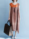 Vintage Patch Sleeveless High Low Dress - Orange
