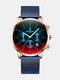 Luxury 30 Meters Waterproof Clock Male Casual Mesh Belt Quartz Watch - Gold Shell Blue Band