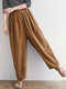Corduroy Elastic Waist Casual Pants With Pocket For Women - Camel