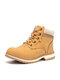 Women Outdoor Warm Lining Lace Up Winter Snow Short Boots - Yellow