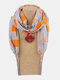 Vintage Chiffon Tassel Women Scarf Necklace Geometric Pendant Flower Leaf Pattern Shawl Necklace - #13