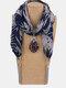 Vintage Chiffon Tassel Women Scarf Necklace Geometric Pendant Flower Leaf Pattern Shawl Necklace - #06