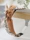 ヴィンテージ刺繡結び目ヘッドバンドフローラルプリント滑り止めワイドサイドプレスヘアバンド - アプリコット