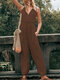 Solid Color Casual Pockets Sleeveless Plus Size Jumpsuit - Khaki